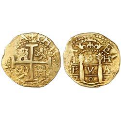 Lima, Peru, cob 4 escudos, 1707H, rare, NGC AU 53, ex-1715 Fleet (designated on label), Tauler Plate