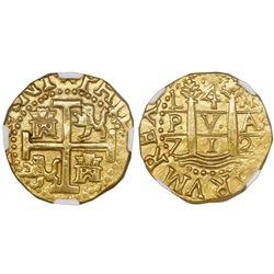 Lima, Peru, cob 4 escudos, 1712M, NGC AU 55, ex-1715 Fleet (designated on label).