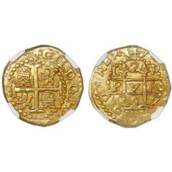 Lima, Peru, cob 2 escudos, 1699R, very rare, NGC MS 63, ex-1715 Fleet (designated on label).