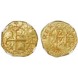 Lima, Peru, cob 2 escudos, 1703H, rare, NGC MS 63, ex-1715 Fleet (designated on label).