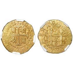Lima, Peru, cob 2 escudos, 1709M, NGC MS 61, ex-1715 Fleet (designated on label).