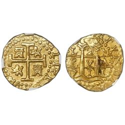 Lima, Peru, cob 2 escudos, 1711M, NGC MS 62, ex-1715 Fleet (designated on label).