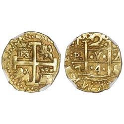 Lima, Peru, cob 2 escudos, 1746/4/3(V), unique, NGC AU 55.