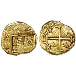 Bogota, Colombia, cob 2 escudos, 1655(R), mintmark NR to left.