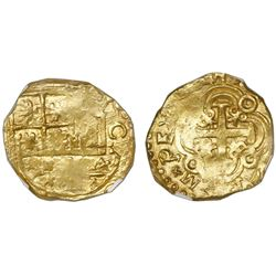 Bogota, Colombia, cob 2 escudos, (17)04, no assayer (Arce), posthumous Charles II, NGC MS 62, ex-171