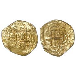 Bogota, Colombia, cob 2 escudos, posthumous Charles II, no assayer (Arce), NGC MS 64, ex-1715 Fleet