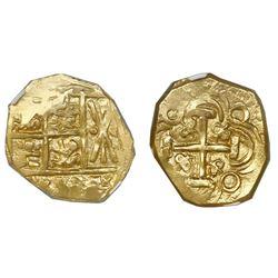Bogota, Colombia, cob 2 escudos, posthumous Charles II, no assayer (Arce), NGC MS 63, ex-1715 Fleet