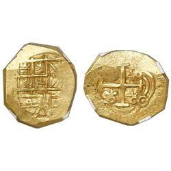 "Bogota, Colombia, cob 2 escudos, Charles II, no assayer (Arce), NGC MS 62, ex-1715 Fleet ""300th Anni"