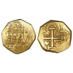 Bogota, Colombia, cob 2 escudos, posthumous Charles II, no assayer (Arce), ex-1715 Fleet.