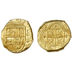 Cartagena, Colombia, cob 2 escudos, Philip IV, assayer E below mintmark C to right (ca. 1630).