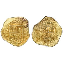 Cartagena, Colombia, cob 2 escudos, Philip IV, assayer E below mintmark C to left (ca. 1630), NGC MS