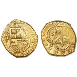 Cartagena, Colombia, cob 2 escudos, Philip IV, assayer E below mintmark C to right, vertical denomin