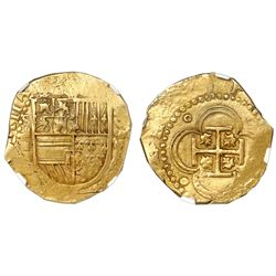 Seville, Spain, cob 4 escudos, 1590 date to right, assayer Gothic D below mintmark S and denominatio