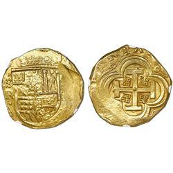 Seville, Spain, cob 8 escudos, Philip IV, assayer R, NGC MS 63.