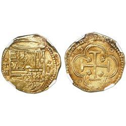 Toledo, Spain, cob 2 escudos, Philip II, assayer M below mintmark oT to left, NGC AU 55.