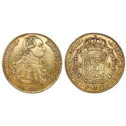 Potosi, Bolivia, bust 8 escudos, Charles IV, laureate bust, 1791PR, rare.