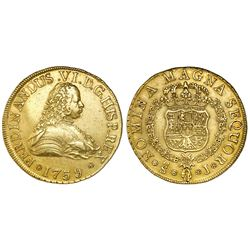 Santiago, Chile, bust 8 escudos, Ferdinand VI, 1759J, king's name as FERDINANDUS.