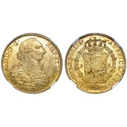 Santiago, Chile, bust 8 escudos, Charles IV (bust of Charles III), 1799DA, NGC MS 61.