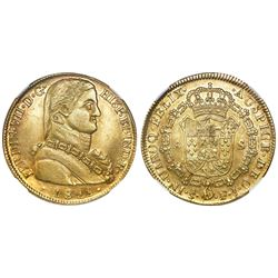 "Santiago, Chile, bust 8 escudos, Ferdinand VII transitional (""admiral"" bust), 1811FJ, NGC AU 58."