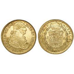 Santiago, Chile, bust 8 escudos, Ferdinand VII (bust of Charles IV), 1817FJ.