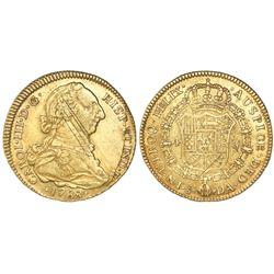 Santiago, Chile, bust 4 escudos, Charles III, 1788DA.