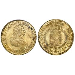 Bogota, Colombia, bust 8 escudos, Charles III (bust of Ferdinand VI), 1760JV, PCGS AU50, ex-Eldorado