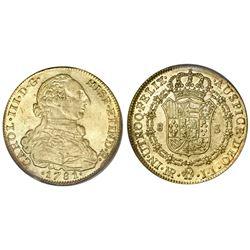 Bogota, Colombia, bust 8 escudos, Charles III, 1781JJ, PCGS AU50, ex-Young, ex-Eldorado.