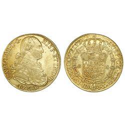 Bogota, Colombia, bust 8 escudos, Charles IV, 1796JJ.