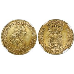 Bogota, Colombia, bust 2 escudos, Ferdinand VI, 1757SJ, rare, NGC AU 53.