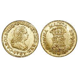 Popayan, Colombia, bust 1 escudo, Charles III (bust of Ferdinand VI), 1767J, mintmark P.N, PCGS AU d