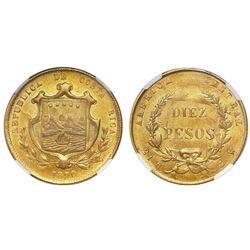 Costa Rica, 10 pesos, 1870GW, NGC MS 61.