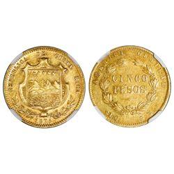 Costa Rica, 5 pesos, 1875GW, NGC AU 55.