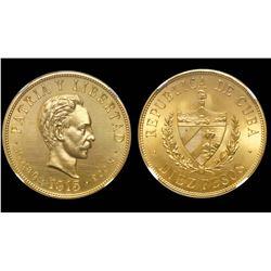 Cuba (struck at the Philadelphia mint), specimen 10 pesos, 1915, unique, NGC SP 64, finest and only