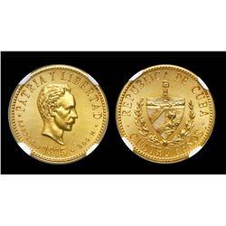 Cuba (struck at the Philadelphia mint), specimen 4 pesos, 1915, unique, NGC SP 64, finest and only k