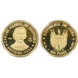 Cuba, proof 100 Pesos, (1977), Carlos Manuel de Cespedes - Grito de Yara, NGC PF 67 Ultra Cameo, ex-