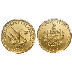 Cuba, 100 pesos, 1981, Discovery of America - Nina, NGC MS 69.