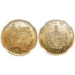 Cuba, 200 pesos, 1993, Bolivar and Marti, NGC PF 65 Ultra Cameo.