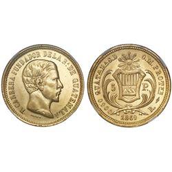 Guatemala, 5 pesos, 1869R, Carrera, NGC MS 61.