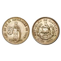 Guatemala, gold off-metal issue 5 centavos, 1925, extremely rare.