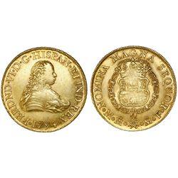 Mexico City, Mexico, bust 8 escudos, Ferdinand VI, 1754MF.