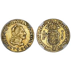 Mexico City, Mexico, bust 1 escudo, Philip V, 1740/30MF, NGC XF 45.