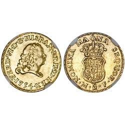 Mexico City, Mexico, bust 1 escudo, Ferdinand VI, 1754MF, NGC XF 40.
