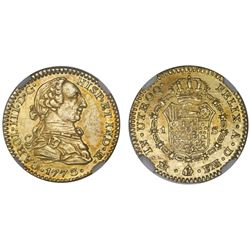 Mexico City, Mexico, bust 1 escudo, Charles III, 1773FM, letters facing rim, NGC AU 55, finest known