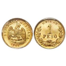 Culiacan, Mexico, 1 peso, 1901/0Q, PCGS MS64.
