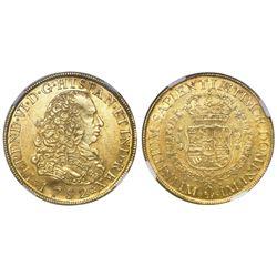 Lima, Peru, bust 8 escudos, Ferdinand VI, 1752J, NGC AU 55.