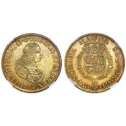 Lima, Peru, bust 8 escudos, Ferdinand VI, 1754JD, NGC AU 55.