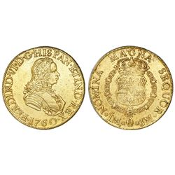 Lima, Peru, bust 8 escudos, Ferdinand VI, 1760JM.