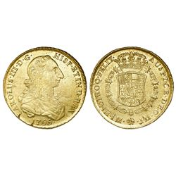 Lima, Peru, bust 8 escudos, Charles III (young bust), 1766JM.