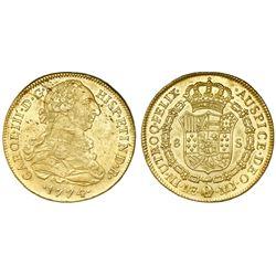 Lima, Peru, bust 8 escudos, Charles III, 1774MJ.