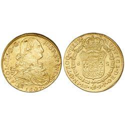 Lima, Peru, bust 8 escudos, Charles IV, 1807JP.
